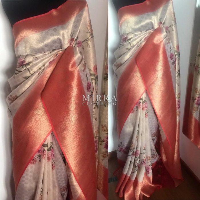 Kora Muslin Silk Saree Digitally Printed