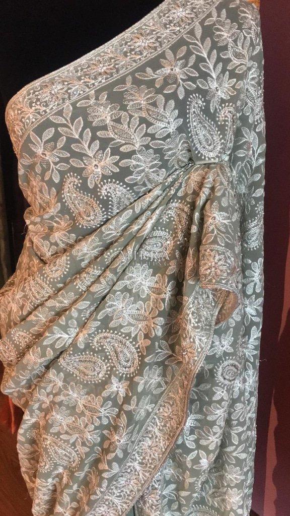 Pure Chiffon Saree With Hand Embroidered Chikankari
