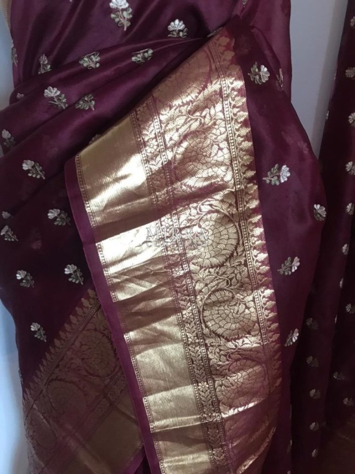 Shimmery Georgette Saree With Designer Lace Border