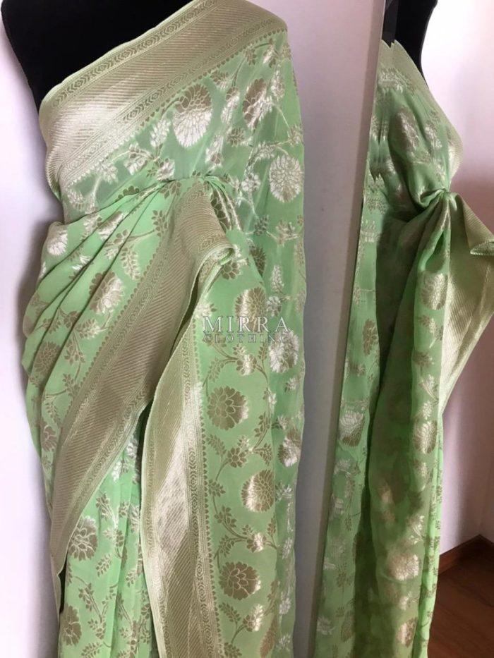 Pure Banarasi Georgette Saree With Silver Zari