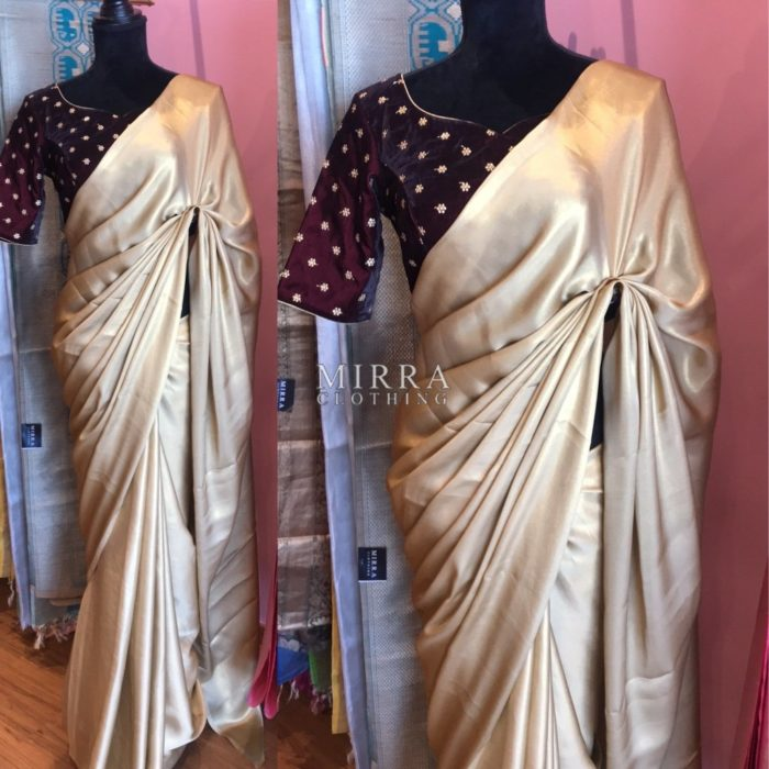 Shimmery Georgette Saree With Velvet Blouse