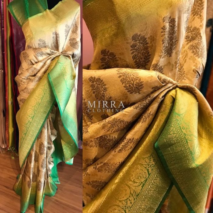 Digitally Printed Brocade Silk Saree