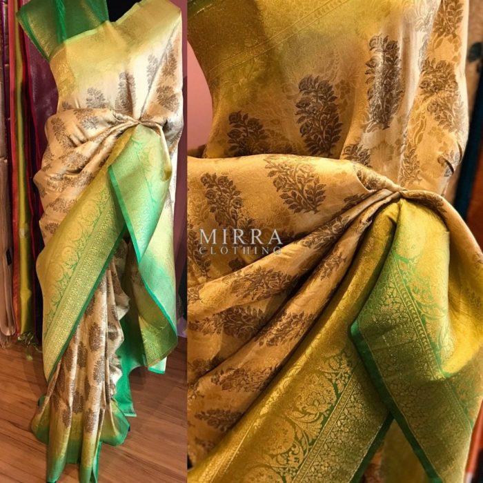 Digitally Printed Brocade Silk Saree