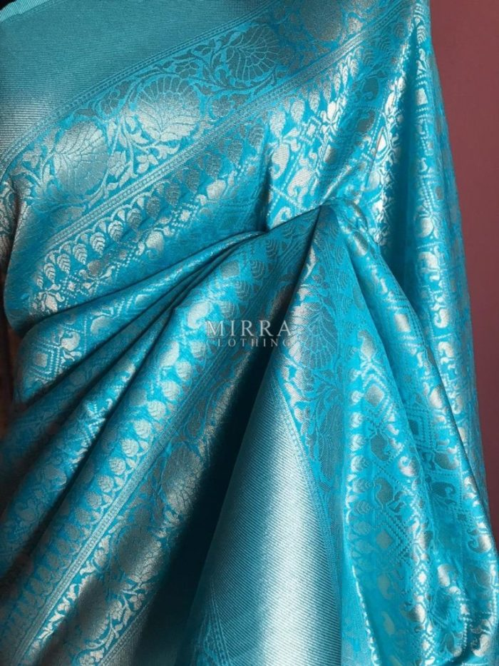 Teal Brocade Silk Saree