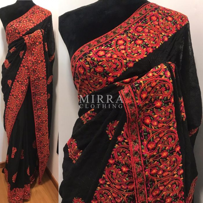 Black Georgette Saree with intricate Kashmiri Embroidery