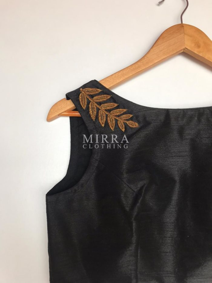Black Raw Silk Blouse with Hand Embroidery