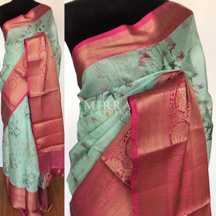 Baby Blue Soft Tissue Silk Saree with Printed Florals