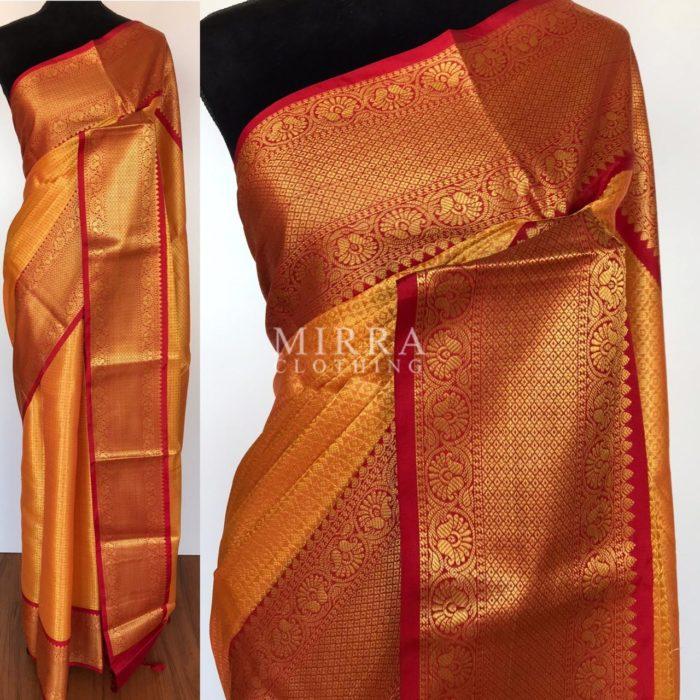 Dark Orange Banarasi Silk Saree with Gold Zari Weaves
