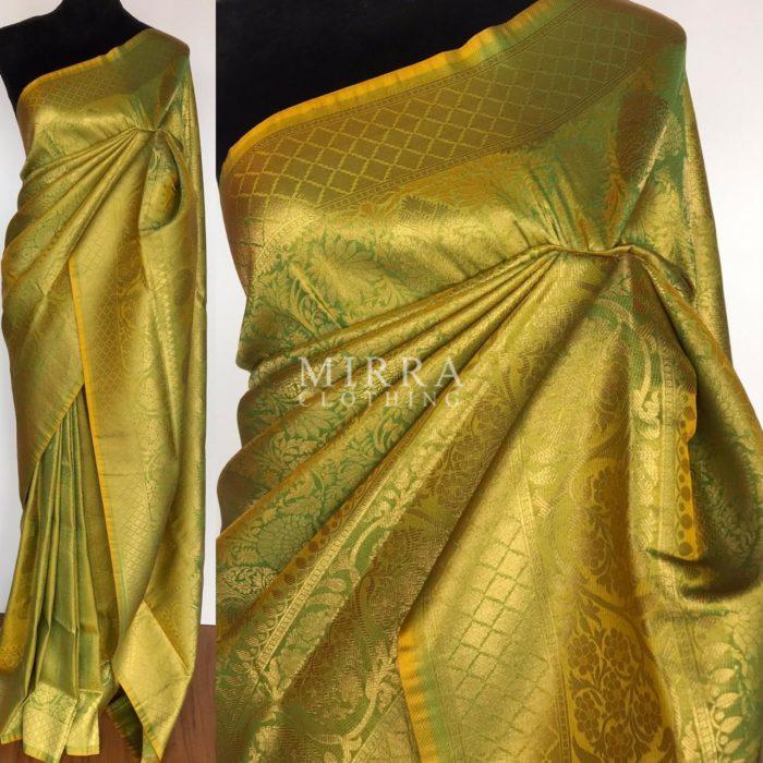 Lime Green Banarasi Silk Saree with gold zari weaves