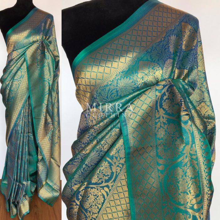 Blue Banarasi Silk Saree with gold zari body weaves