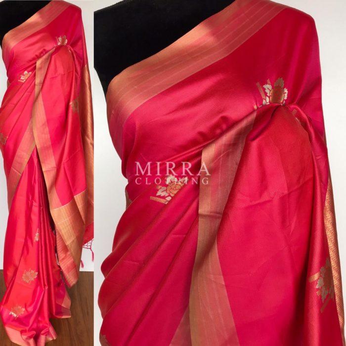 Coral Red Banarasi Silk Saree with Gold and Silver Zari Weave