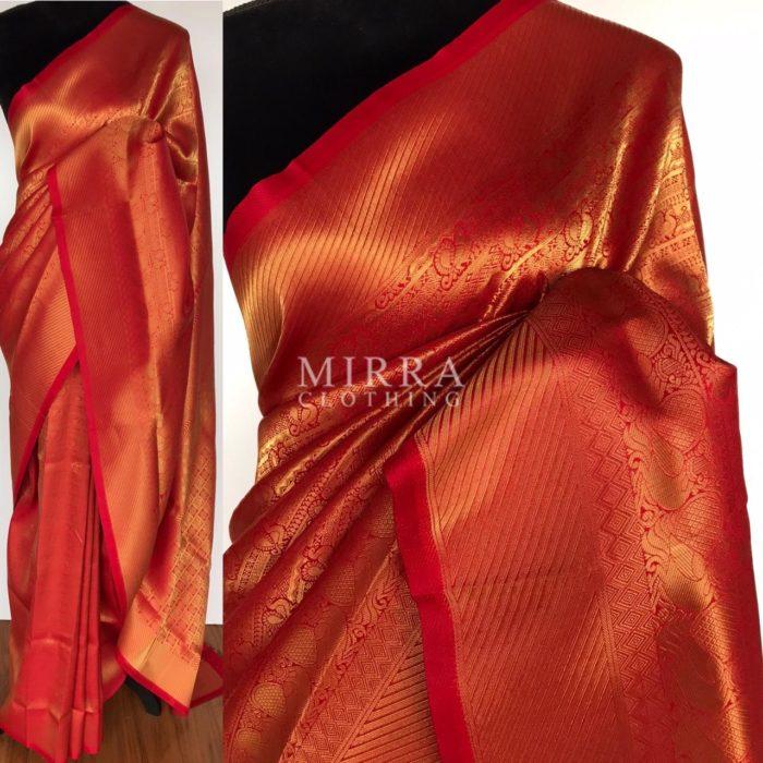 Chilli Red Banarasi Silk Saree with Gold Zari Weaves