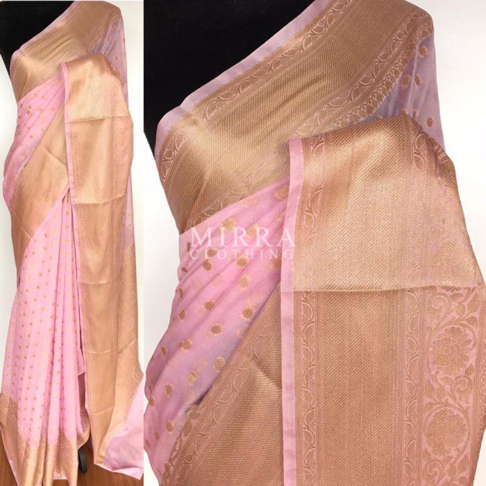 Baby Pink Banarasi Silk Saree in Semi Georgette with Antique Silver Zari Weaves