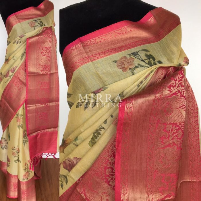Soft Butter Yellow Tissue Saree with Printed Florals