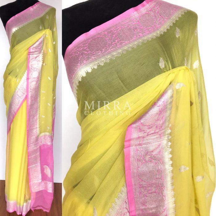 Pastel Yellow Pure Khaddi Banarasi Silk Saree in Chiffon woven in Silver Zari