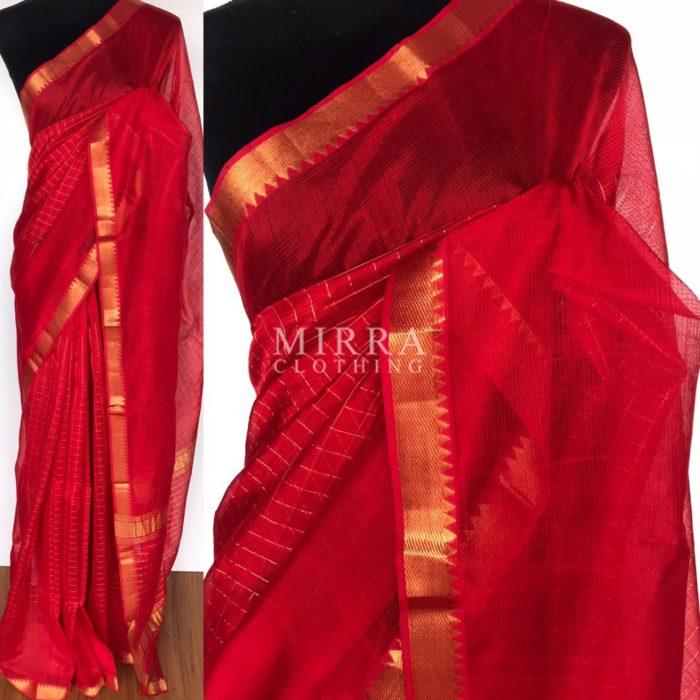 Scarlet Red Mangalagiri Silk Saree with gold zari checks