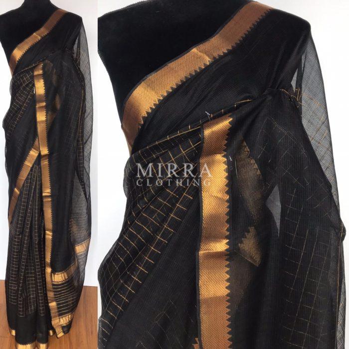 Black Mangalagiri Silk Saree with gold zari checks