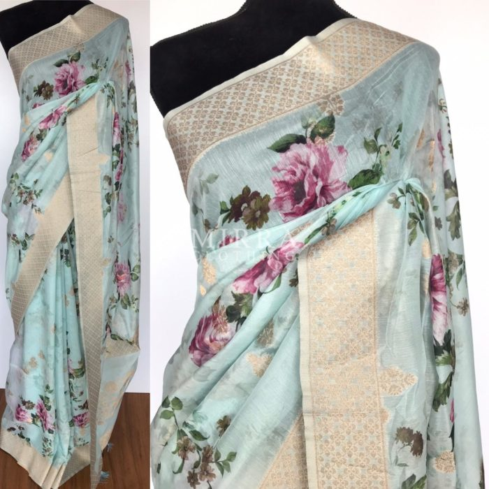 Baby Blue Linen Silk Saree with Beautiful Prints along with Antique Zari Border