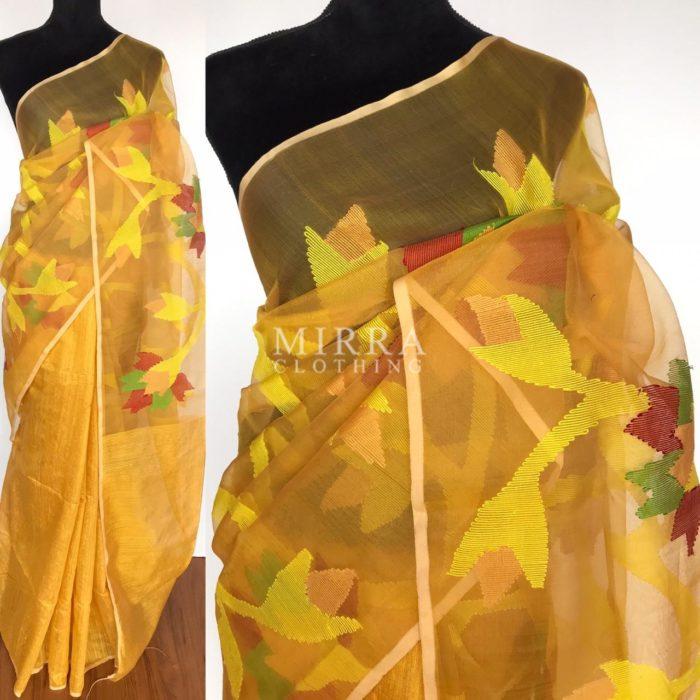 Yellow Pure Matka Muslin Silk Saree with Hand Embroidery