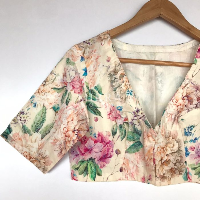 Offwhite Rayon Blouse with Floral Prints