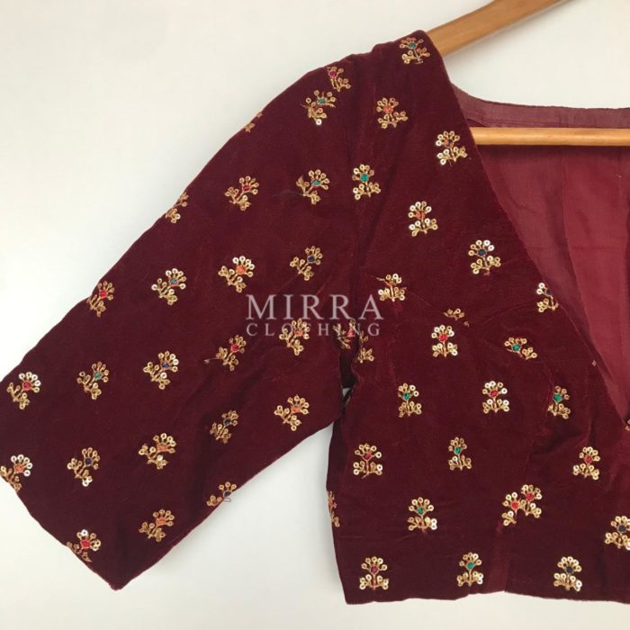 Maroon Velvet Blouse with Sequins Embroidery (Deep V neck)