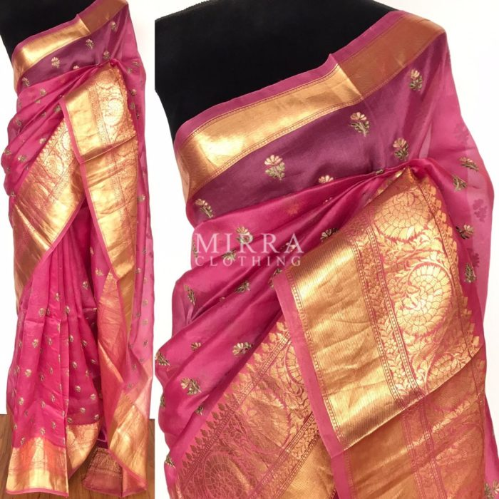 Creamy Pink Pure Organza Saree with Floral Embroidery