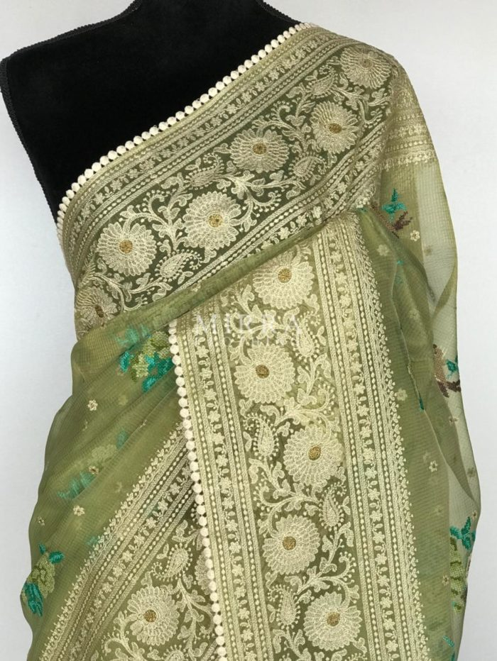 Pista Green Glass Tissue Saree with Intricate Cross-stitch Embroidery