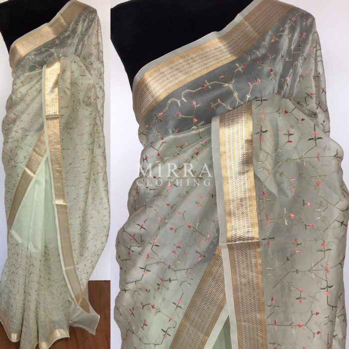 Mint Green Organza Saree with Embroidery all over