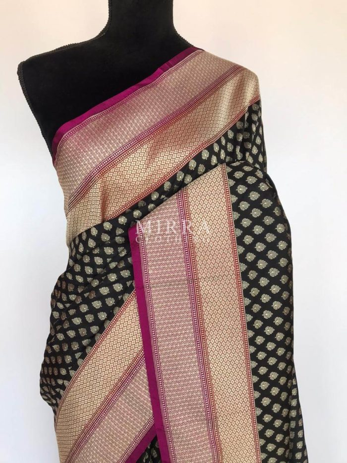 Black Katan Silk Saree with Silver Zari Weaves