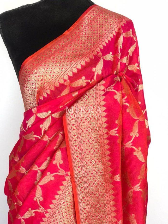 Hot Pink Katan Silk Saree with Gold Zari Weaves