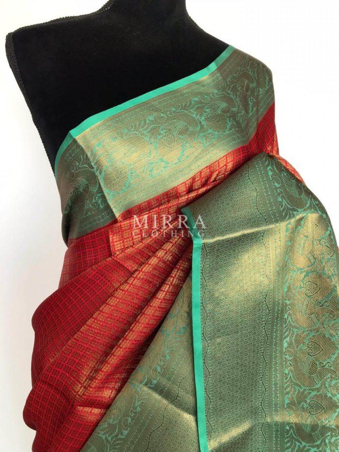 Red Kora Silk Saree with Gold Zari Weaves