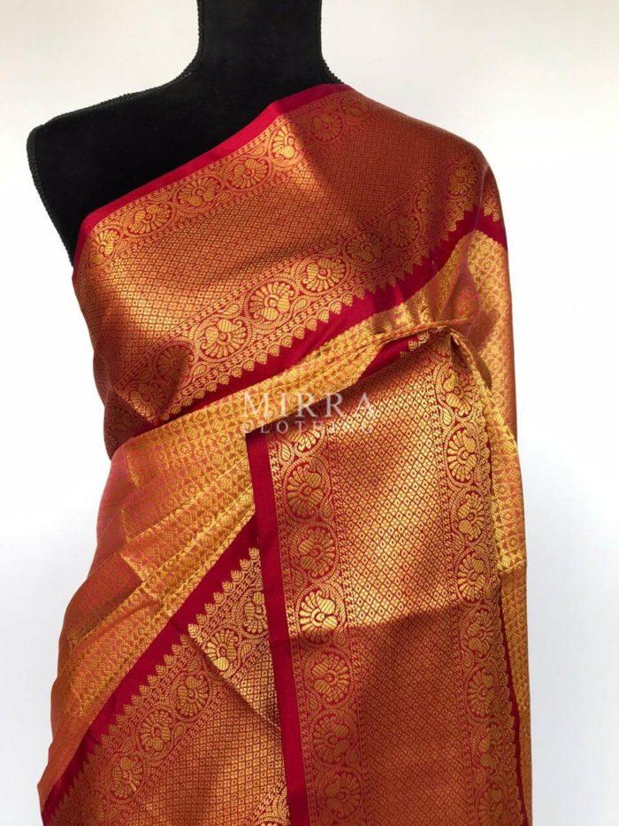 Pink Banarasi Silk Saree with Beautiful Gold Zari Weaves