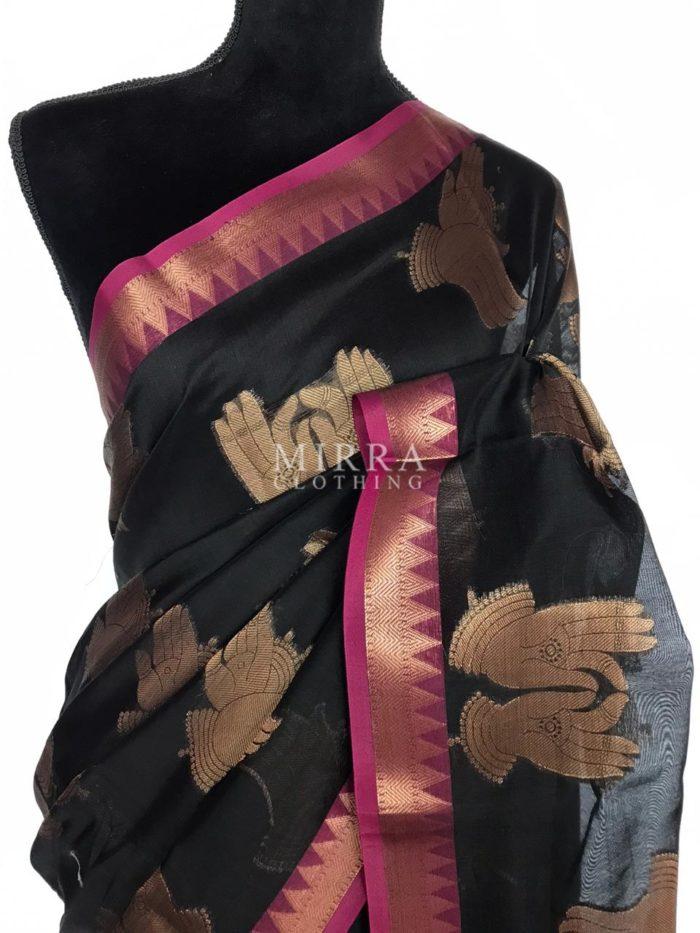 Black Chanderi Silk Saree with Gold Zari Weaves