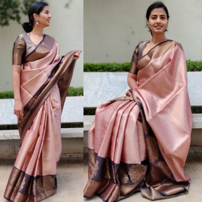 Powder Pink Kora Silk Saree with Gold Zari Weaves