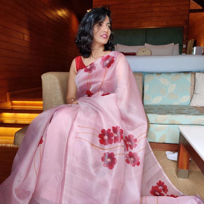Dusty Pink Handpainted Organza saree