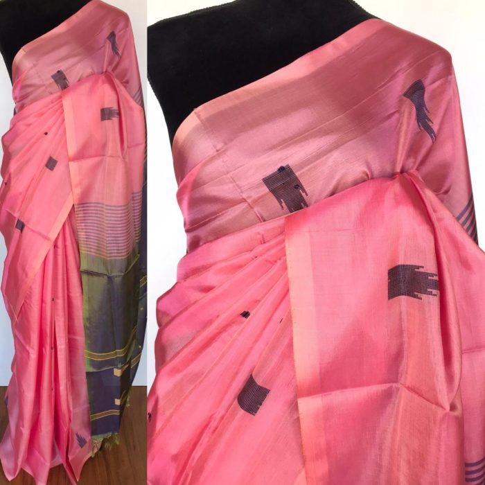 Baby Pink Chinnalapattu Silk Saree with Handwoven Buttas