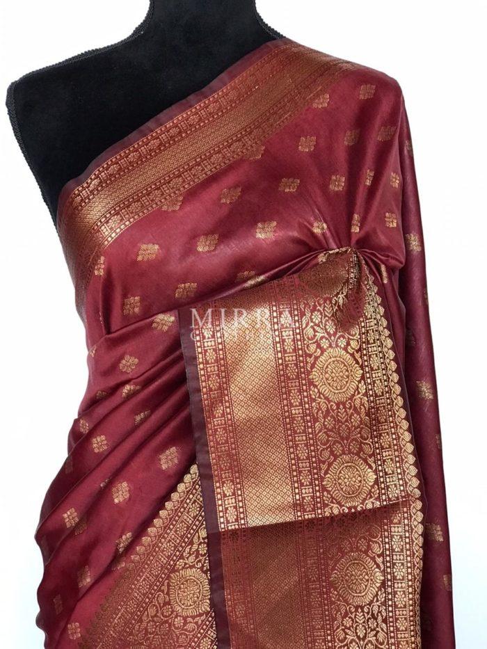 Maroon Banarasi Silk Saree with antique gold zari buttas
