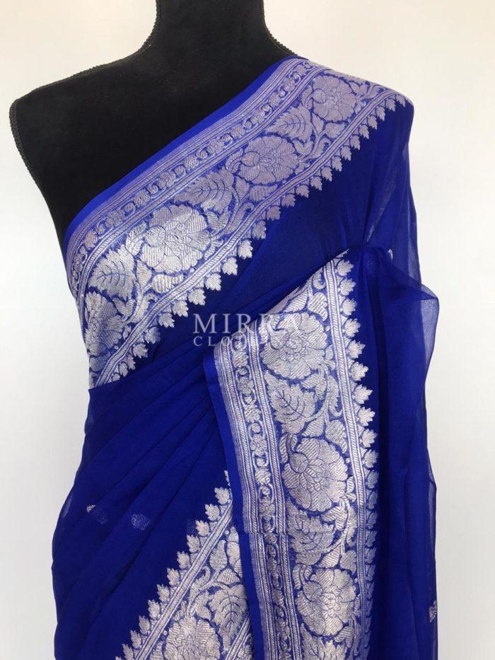 Royal Blue Pure Khaddi Banarasi Silk Saree in Chiffon Woven with Silver Zari Buttas
