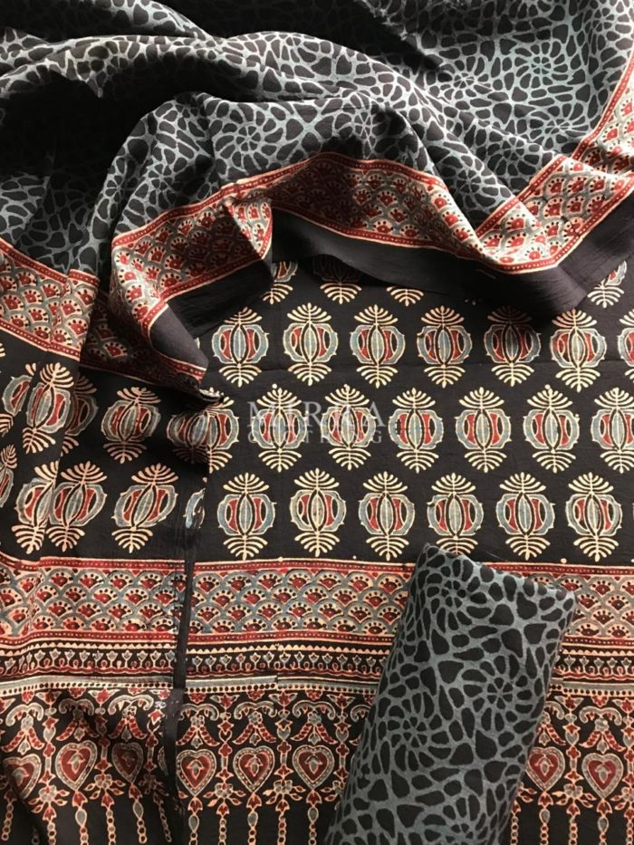 Black Hand Block Printed Ajrakh Cotton Salwar Suit