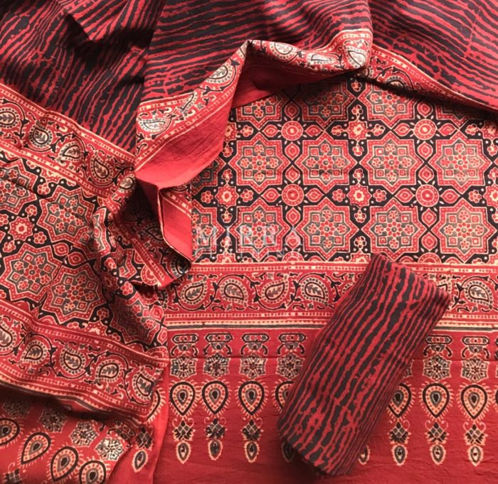 Brick Red Hand Block Printed Ajrakh Cotton Salwar Suit