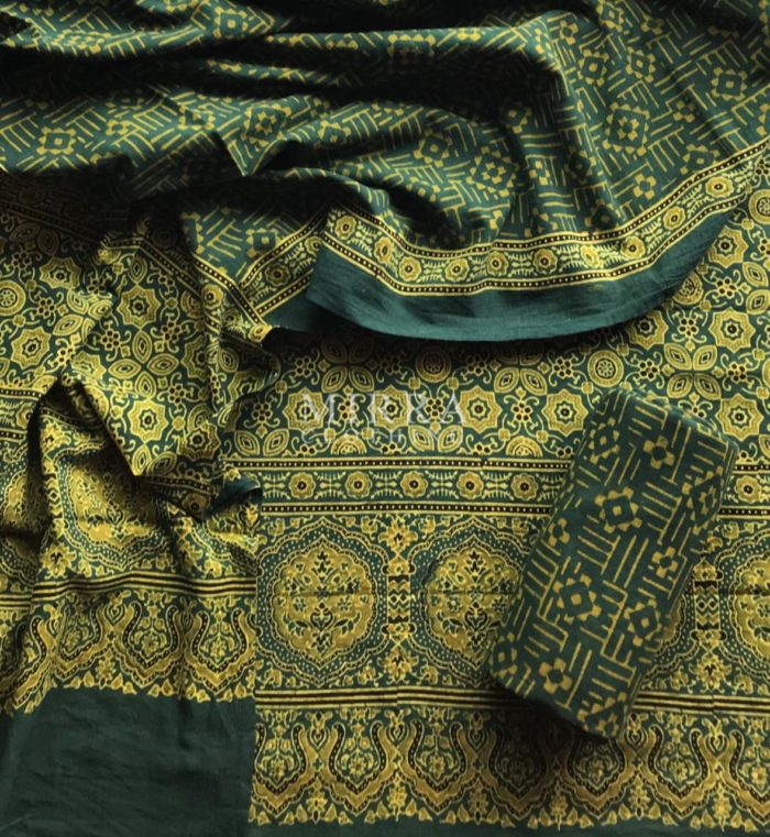 Green Hand Block Printed Ajrakh Cotton Salwar Suit