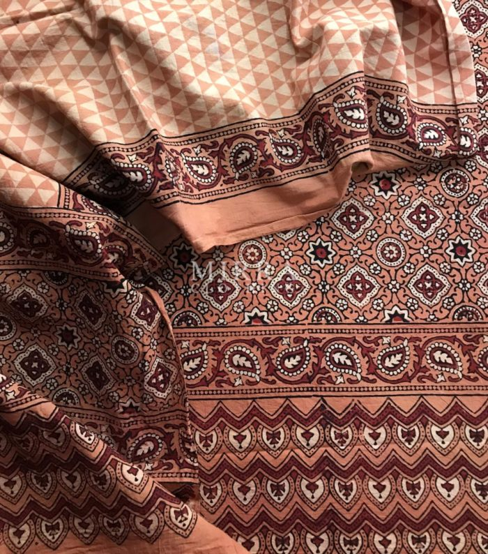 Brown Hand Block Printed Ajrakh Cotton Salwar Suit