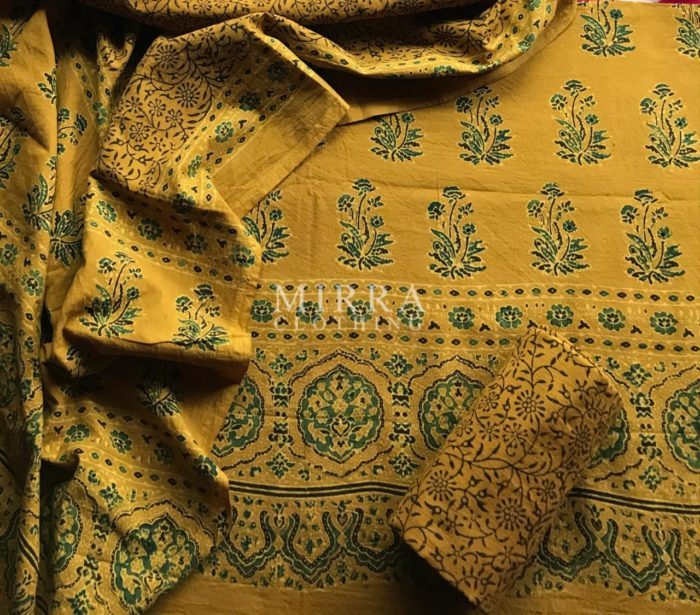 Mustard Hand Block Printed Ajrakh Cotton Salwar Suit