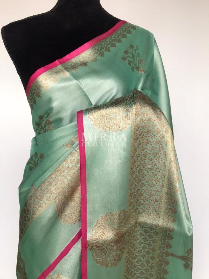 Baby Blue Tissue Silk Saree with zari weaves
