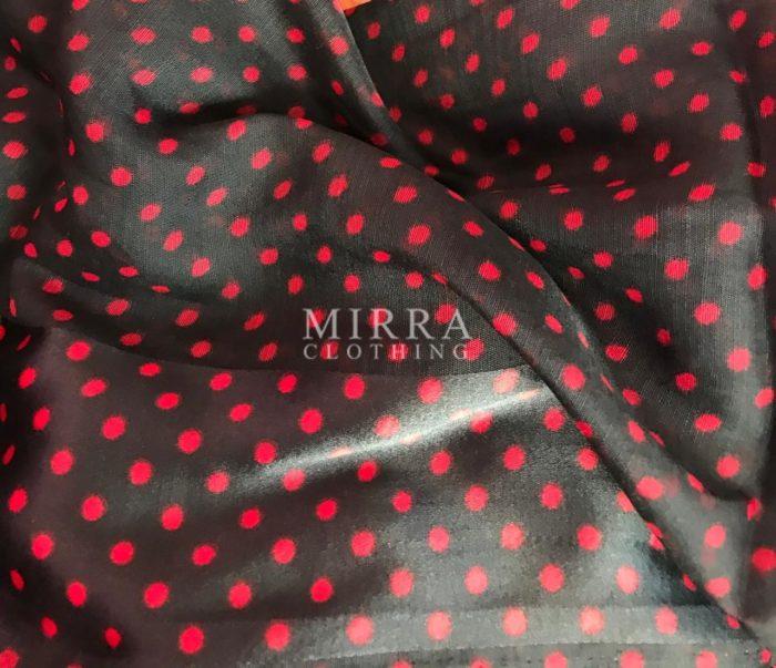 Black Linen Cotton Saree with Floral Prints