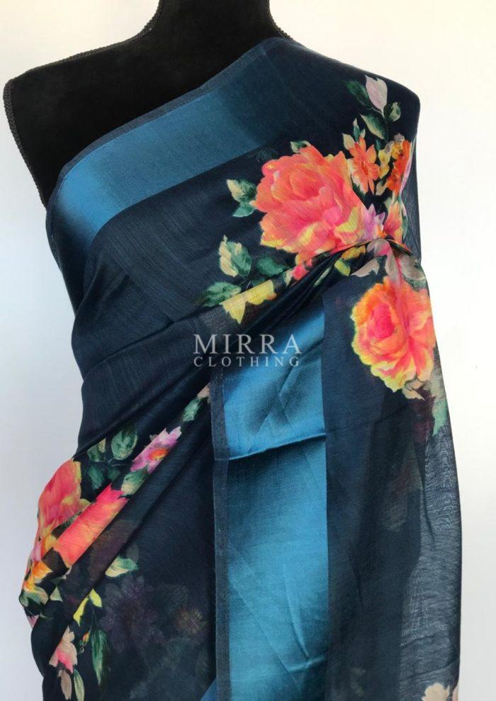 Ocean Blue Linen Cotton Saree with Floral Prints