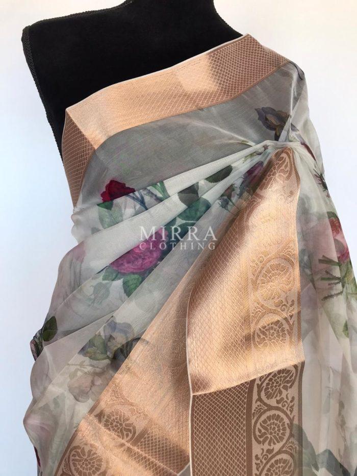 Sea Green Organza Saree with Printed Florals