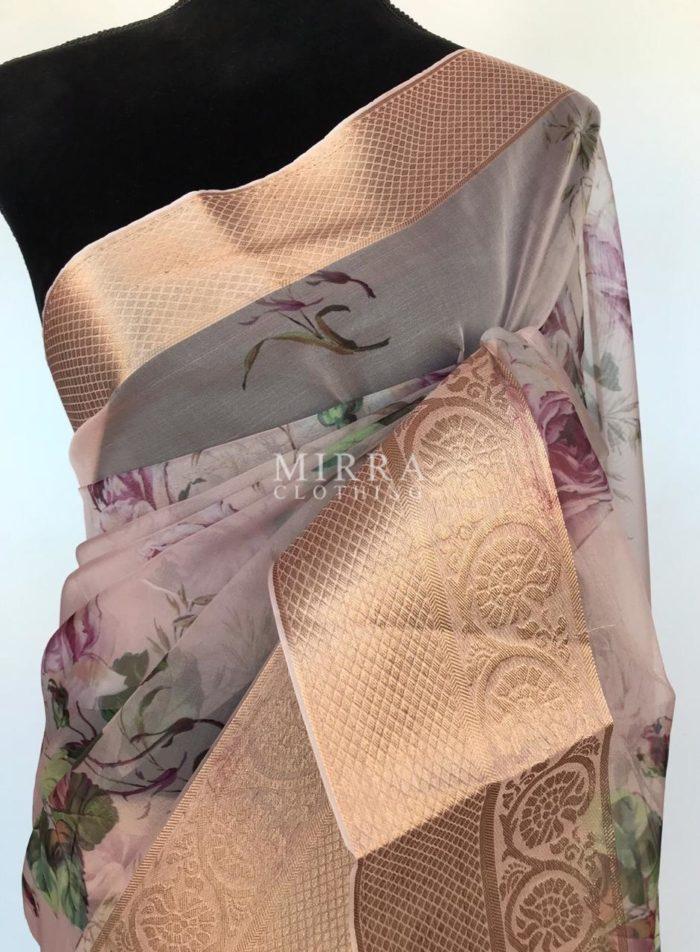Mauve Organza Saree with Printed Florals