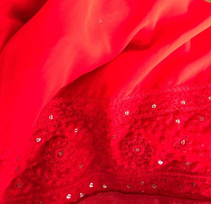 Red Georgette Saree with Lucknowi Thread Work