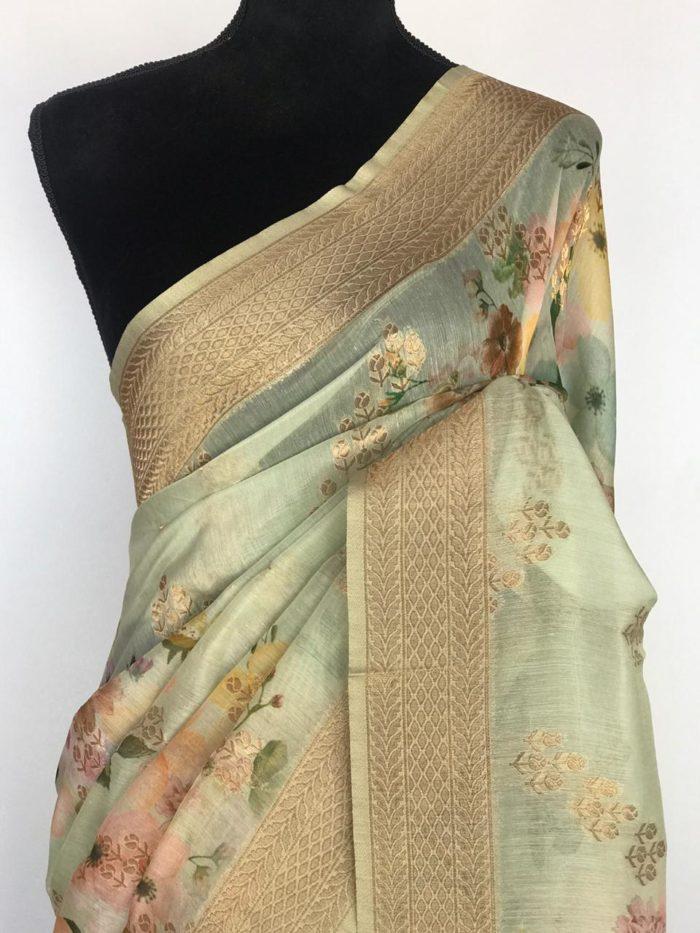 Sea Green Linen Silk Saree with Beautiful Prints along with Antique Zari Border